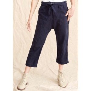 The Great linen tie belt capri cropped pants 8222